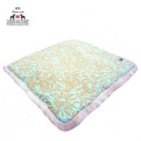 PET BED - AMY BUTLER DAISY CHAIN 'DAISY PETAL BOUQUET - COCOA ON TURQUOISE'